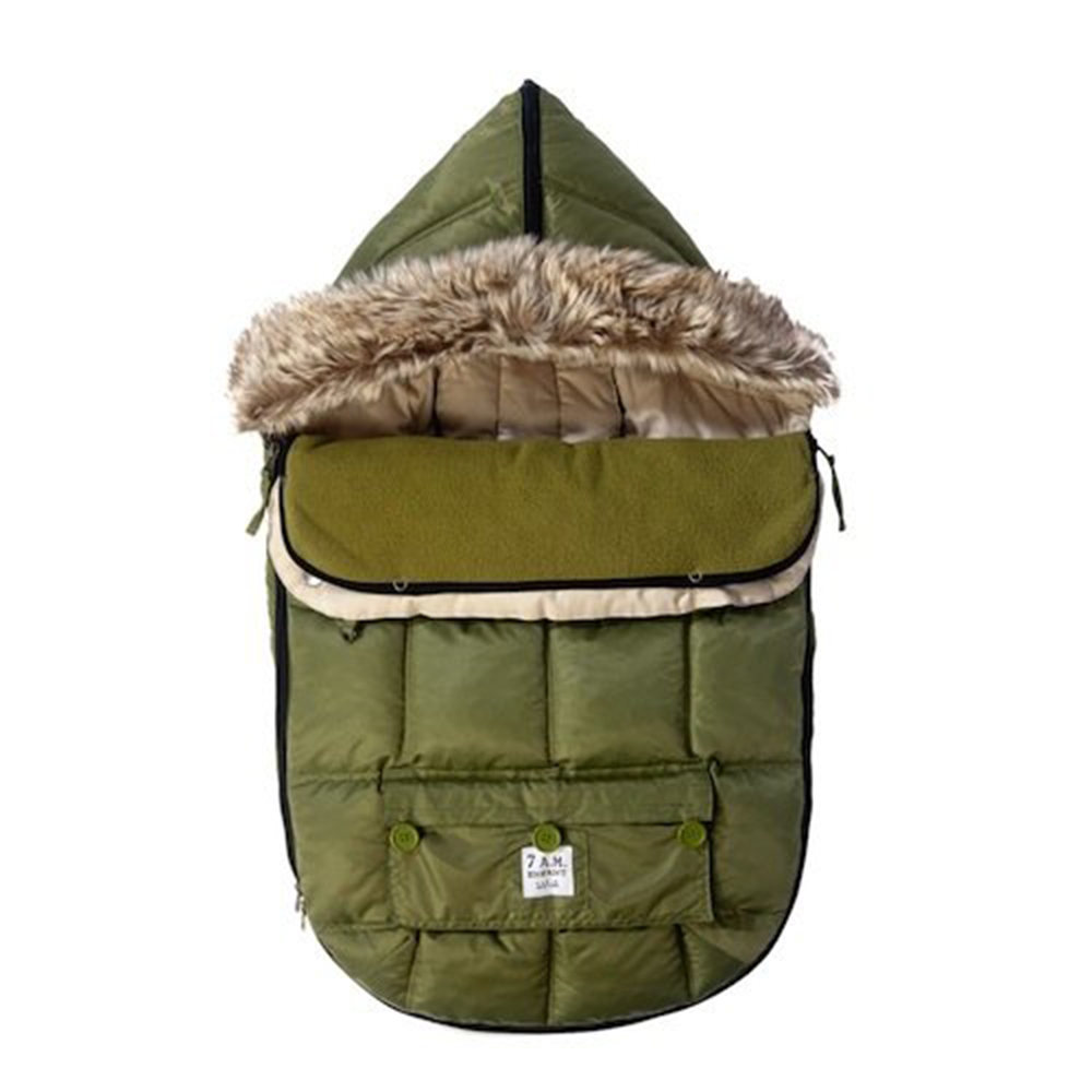 7 A.M. Le Sac Igloo Extendable Baby Bunting Bag Adaptable for Strollers, Army, Medium