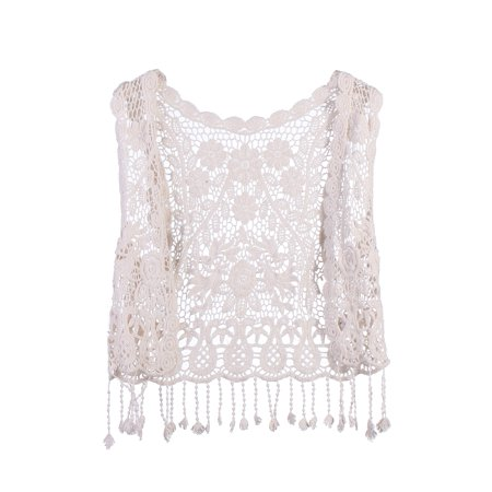 Toddler Kids Baby Girls Lace Crochet Hollow Out Cardigan Vest Tops Tassels Blouse -