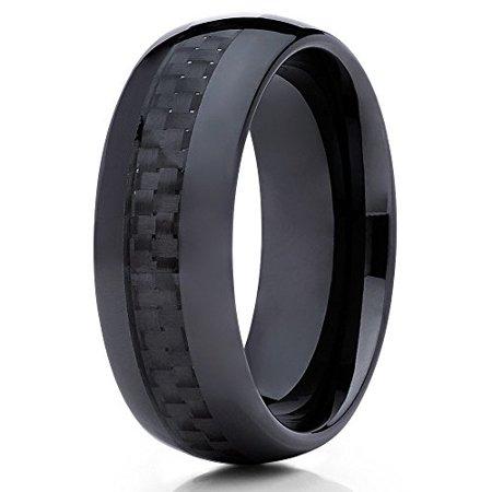 Ceramic Wedding Band Black Carbon Fiber Inlay 8Mm Black Ceramic Ring Dome Comfort Fit