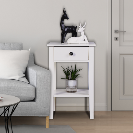 Bedside Table, Floor-standing Storage Table with a Drawer, Sofa/Chair Side End Table, Storage Drawer File Cabinet, Modern Simple Design Small Furniture for Bedroom Bathroom Living Room, White, L0001