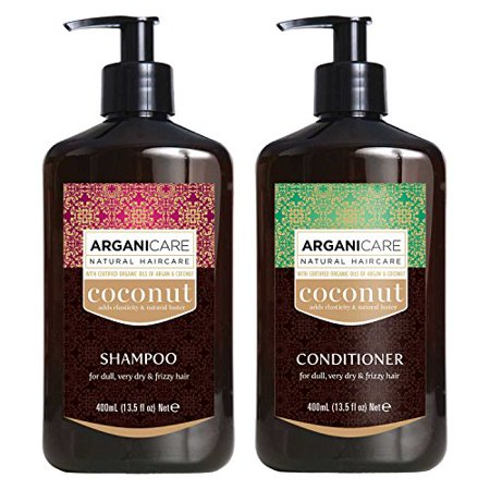 Arganicare Coconut Shampoo and Conditioner Set with Organic Argan and  Coconut Oils for dry and damaged hair 2 x 13 5 fl  Oz  bottles