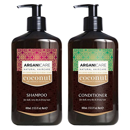 Arganicare Coconut Shampoo and Conditioner Set with Organic Argan and Coconut Oils for dry and damaged hair 2 x 13.5 fl. Oz. bottles