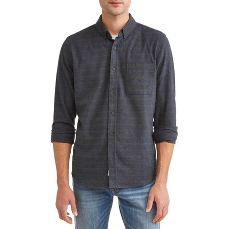 Como Man Men's long sleeve heathered flannel woven
