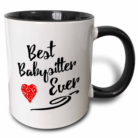 3dRose Best Babysitter Ever Design in Black Text with Red Swirly Heart - Two Tone Black Mug, 11-ounce