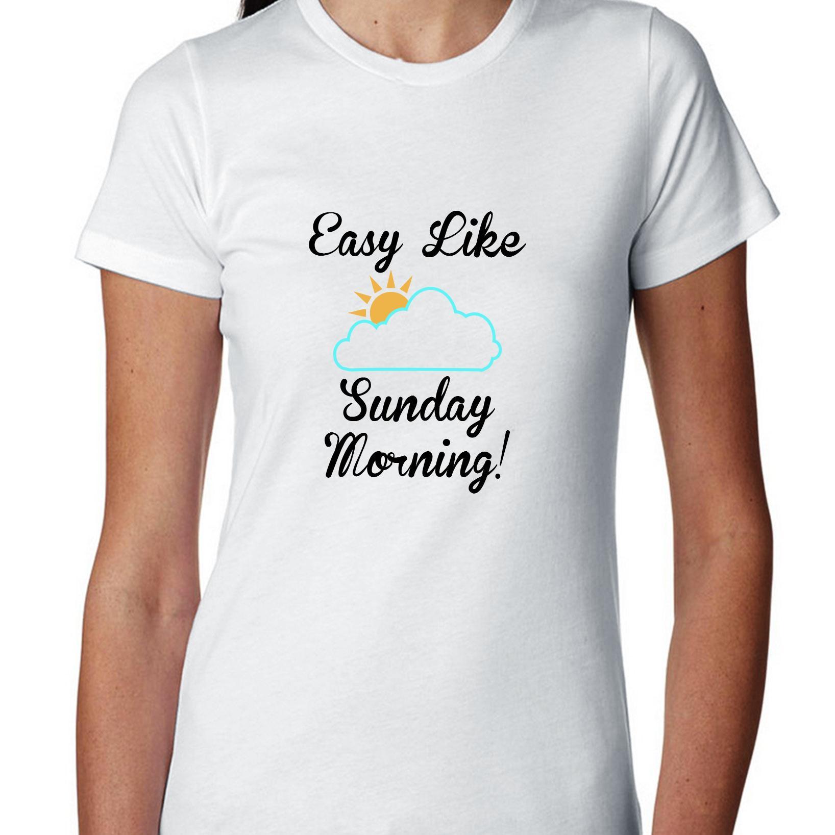 Easy Like Sunday Morning - Sun & Puffy Cloud Women's Cotton T-Shirt