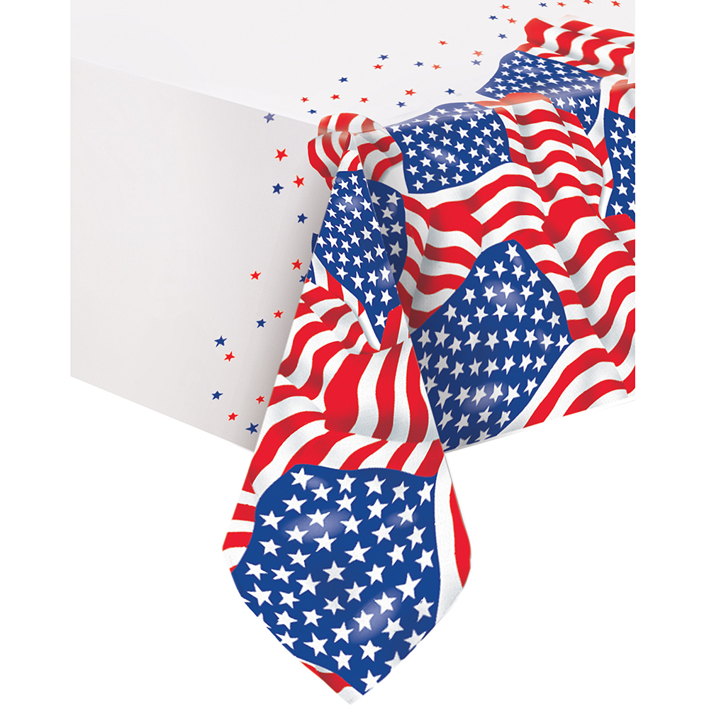 US American Flag Plastic Tablecloth, 84 x 54 in, 1ct