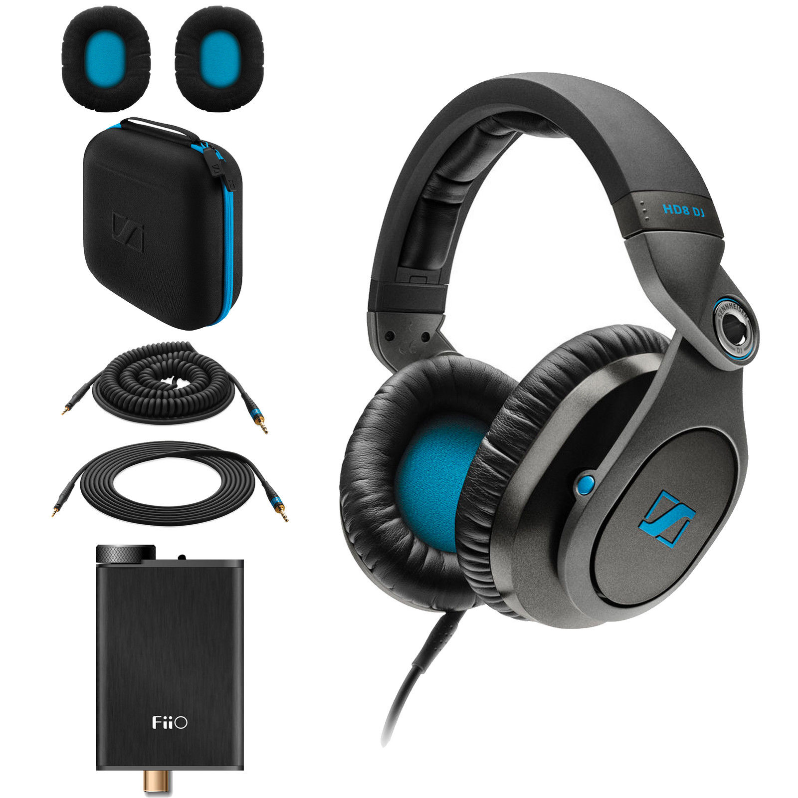 Sennheiser HD8 DJ Closed-Back Headphones + Fiio E10K USB DAC Amplifier + CASE by Sennheiser
