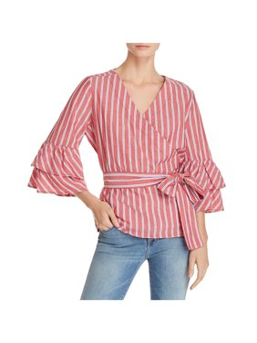 Beach Lunch Lounge Womens Spencer Striped Button-Down Wrap Top Red S