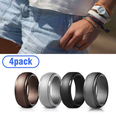 EEEkit 4Pack Silicone Wedding Ring for Men & Women - Rubber Wedding Ring Best fit Engagement Rings, Designed, Safe, Soft, Silicone Rubber Men's Band- Set of Black, Blue, Gray,