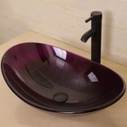 Bathroom Oval Tempered Glass Vessel Sink Oil Rubbed Bronze Faucet Pop-up Drain Combo Purple