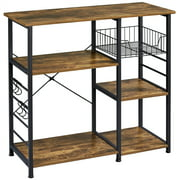Yaheetech Multifunctional Kitchen Trolley Wood Utility Storage Shelf with Basket 6 Hooks Metal Frame Microwave Oven Stand for Spices Utensils Foods