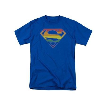 Superman Iconic DC Comic Book Hero Prismatic Rainbow Symbol Adult T-Shirt - Super Man Symbol