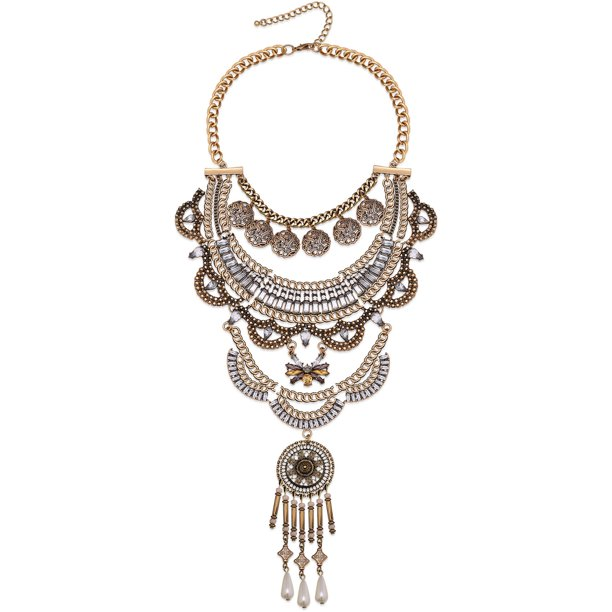 Adjustable Statement Necklace with Tribal Inspired Styling and Coin Embellishments