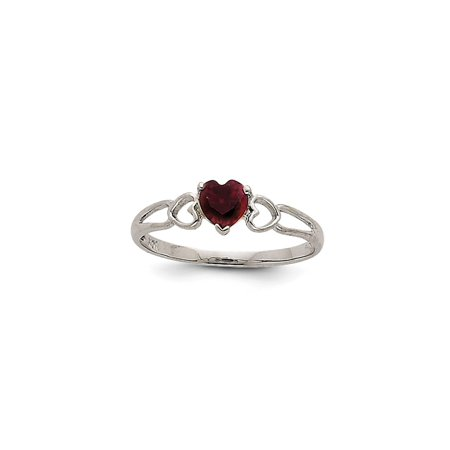 14k White Gold Red Garnet Birthstone Band Ring Size 6.00 Stone January Style For Women