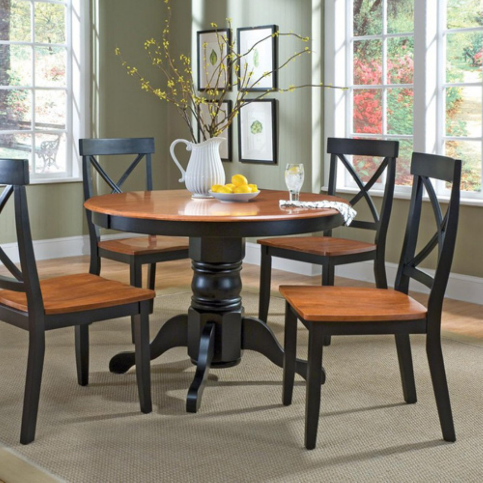 Homestyles 5 Piece Dining Set Black And Cottage Oak Finish