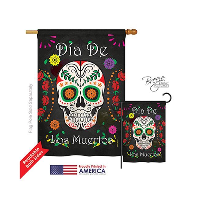 Breeze Decor 12009 Halloween Dia de los Muertos 2-Sided Vertical Impression House Flag - 28 x 40 in. - image 1 de 1