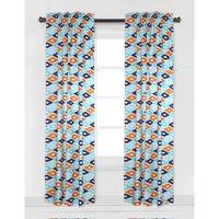 Bacati - Aztec Kilim Curtain Panel 42 x 84 inches 100% Cotton Percale Fabrics, Liam Aqua/Orange/Navy