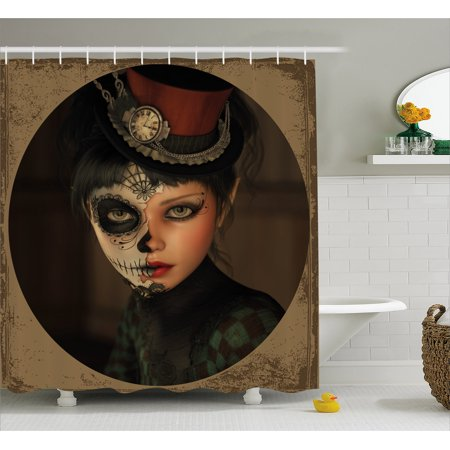 Sugar Skull Shower Curtain, Antique Portrait Girl with Calavera Inspired Makeup and Topper Realistic Design, Fabric Bathroom Set with Hooks, Multicolor, by Ambesonne for $<!---->