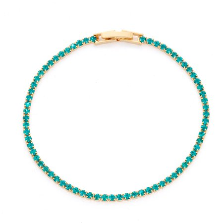 X & O 14KT Gold Plated Crystal Solid Pastel Tone Style Single Row Bracelet in Blue Zircon