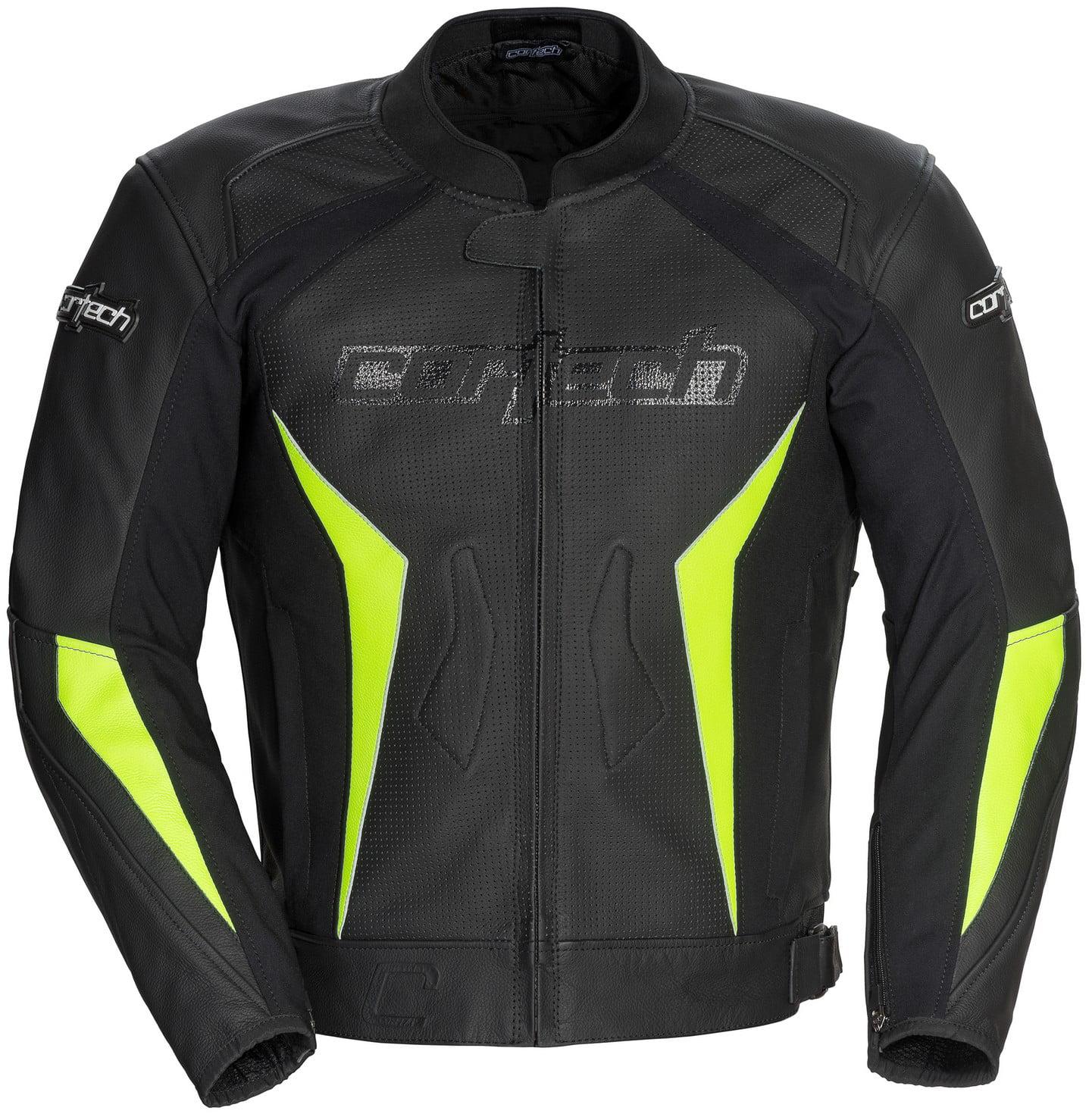 Cortech Latigo 2.0 Leather Jacket Black/Hi-Viz Yellow