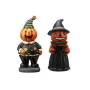 Way to Celebrate Vintage Figurine Halloween Pumpkin Table Top Decoration, Set of 2