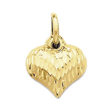 14K Yellow Gold Puffed Heart Charm Pendant - 14mm