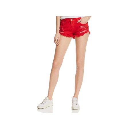 - Pistola Womens Gigi Fringe Distressed Denim Shorts