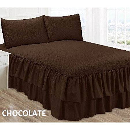Wpm Solid Double Ruffle Bedspread Set Chocolate Brown King