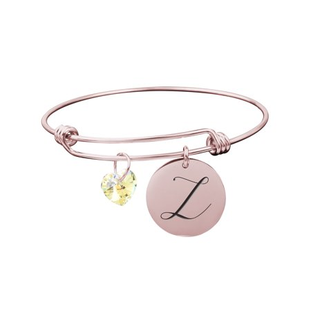 Pink Box Solid Stainless Steel Adjustable Initial Bangle with Genuine Swarovski Crystal (Swarovski Crystal Prayer Box Bracelet)