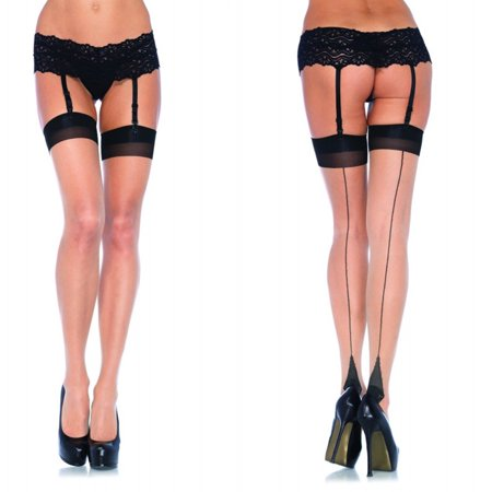 Leg Avenue Lycra Sheer Two Tone Thigh High with Backseam and Cuban Heel - Black/Nude - One Size