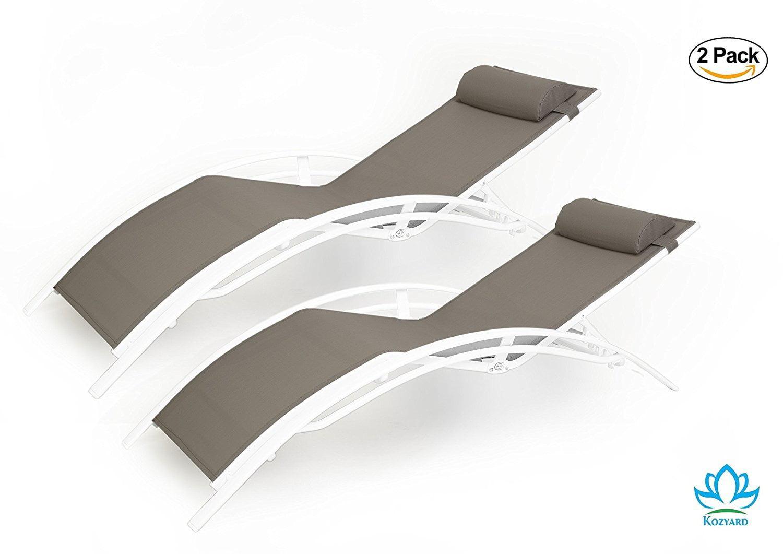 Kozyard KozyLounge Elegant Patio Reclining Adjustable Chaise Lounge Aluminum and Textilene... by Kozyard LLC
