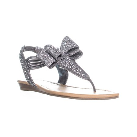 Womens MG35 Shayleen Rhinestone Bow T-Strap Sandals, Pewter