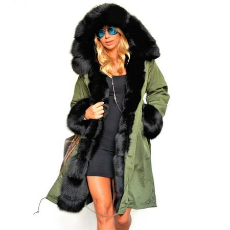 Stylish Ladies Women Lady Hooded Winter Warm Thick Faux Fur Coat ...