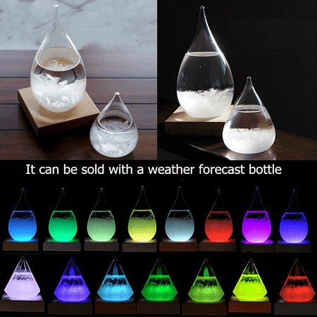 RGB LED Light-emitting Base Multicolor Lamp Holder for Weather Forecast Crystal Drops Water Shape Storm Glass  Remote Control Xmas Gift ()