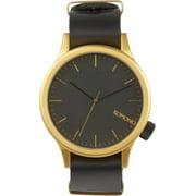 Mens Magnus Gold Black Analog Stainless Watch - Black Leather Strap - Black Dial - KOM-W1906