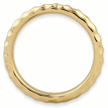 925 Sterling Silver Gold Plated Hammered Band Ring Size 10.00 Stackable Textured Fine Jewelry For Women Gifts For Her - image 2 de 8