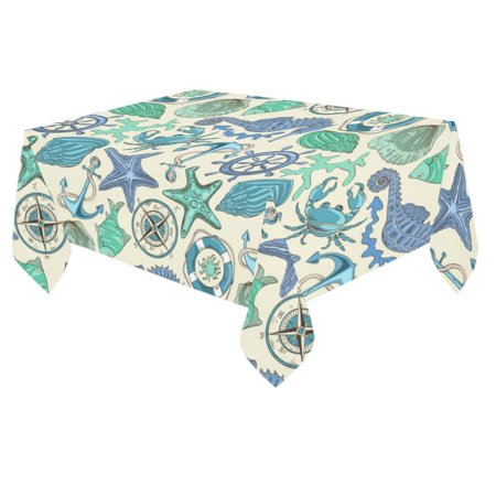 MYPOP Starfish Anchor seahouse Cotton Linen Tablecloth 60x84 inches Tablecover Desk Table Cloth For Dining Room, Tea Table, Picnics, Parties - Tea Party Table