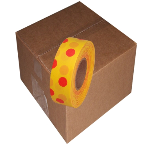 12 Roll Case of Yellow and Red Polka Dot Flagging Tape 1 3/16 inch x 300 ft Non-Adhesive