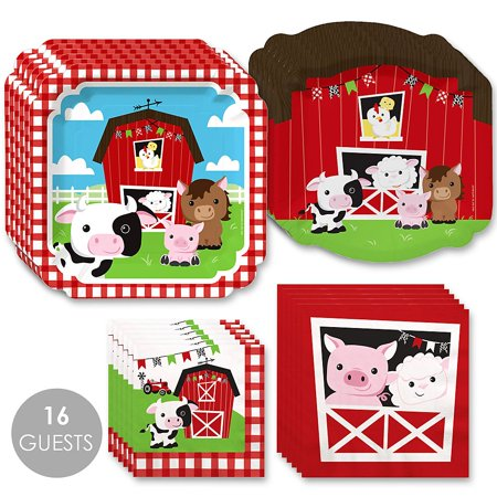 Barnyard Baby Shower ( Farm Animals - Barnyard Baby Shower or Birthday Party Tableware Plates and Napkins - Bundles for 16 )