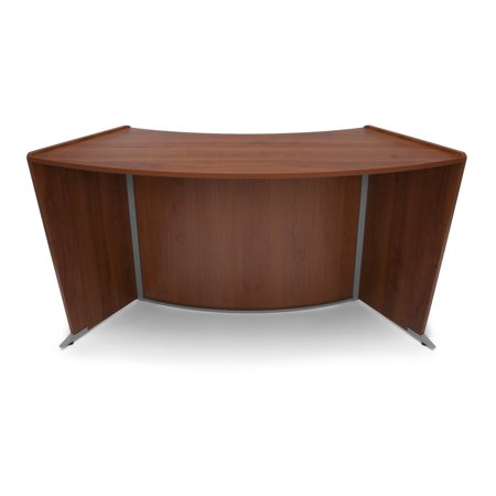 Office Furniture Marque Series ADA/Wheelchair Accessible Curved Silver frame melamine finish Reception Desk Station, (Curved Desk Extension)