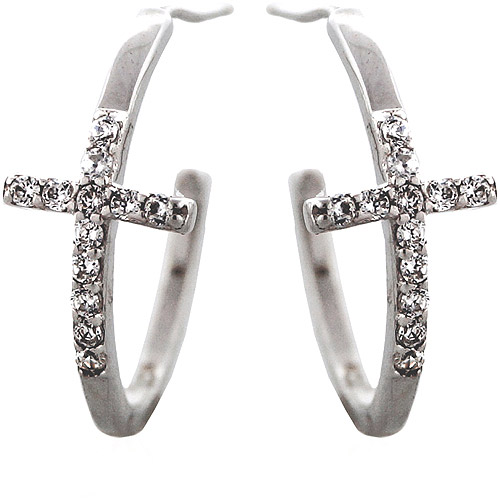 "CZ Sterling Silver Sideways Cross 3/4"" Hoop Earrings"