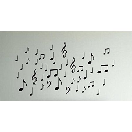 Note Wall (42 Music Notes (W20) Wall Decal Sticker Arts & Crafts/Mission Black and)