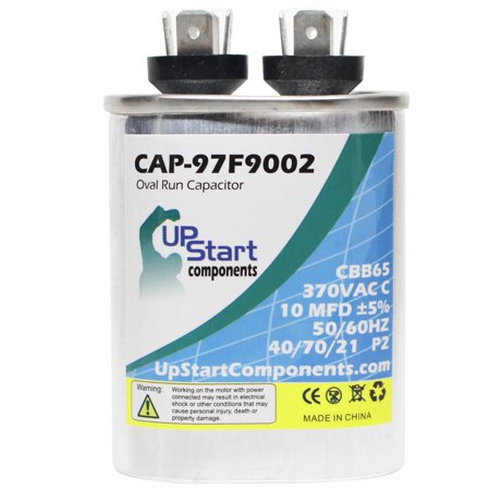 2-Pack 10 MFD 370 Volt Oval Run Capacitor Replacement for Coleman / York 024-20046-000 - CAP-97F9002, UpStart Components Brand - image 2 de 4
