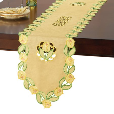 Yellow Table Runners (Elegant Spring Table Linens with Yellow Tulips & Organza Background,)