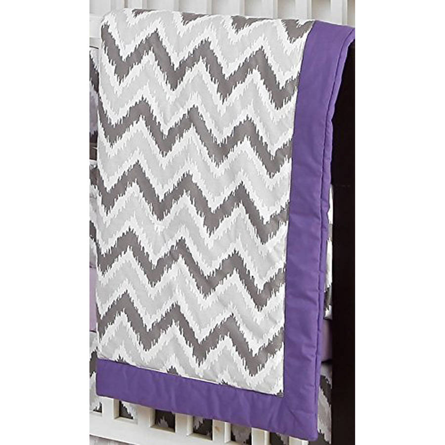 Bacati - Zigzag Ikat Crib 100% Cotton Percale Shell Comforter, Grey/Lilac