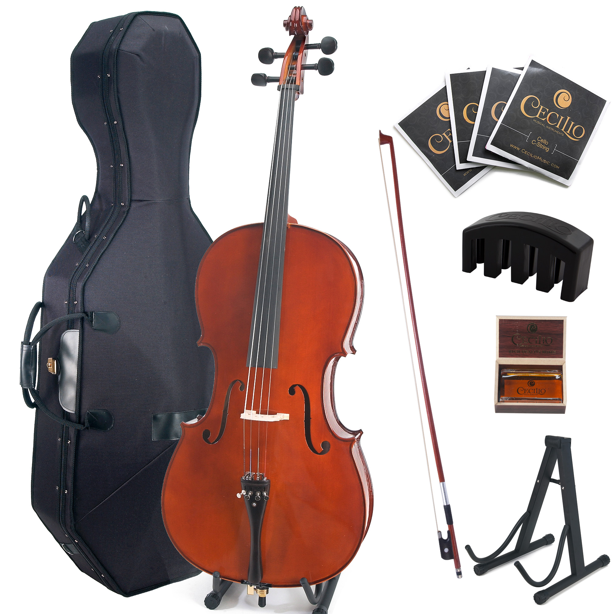 Cecilio CCO-500 Ebony Fitted Flamed Solid Wood Cello with Hard and Soft Case, Cello Stand,... by Cecilio Musical Instruments