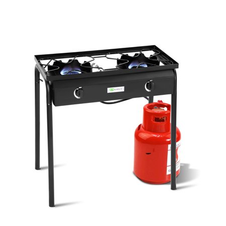 Goplus Propane 150000 BTU Double Burner Gas Cooker Stand Stove Electronic Ignition BBQ ()