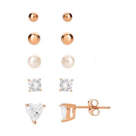STERLING SILVER 14KT GOLD PLATED SINGLET 4MM BALL STUD, CUBIC ZIRCONIA RD STUD, CUBIC ZIRCONIA HEART STUD, 3MM BALL STUD AND PEARL STUD, 5 PIECES