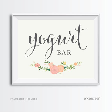 yogurt bar floral roses wedding party signs