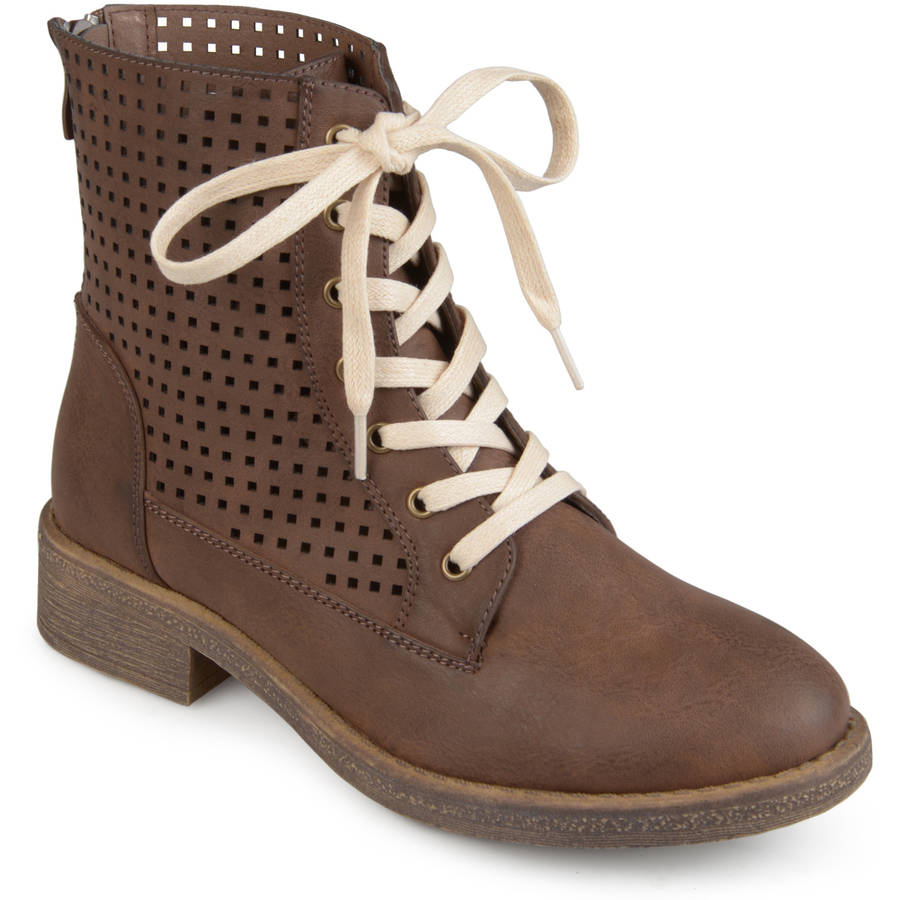 Brinley Co. Womens Faux Leather Laser-cut Lace-up Boots